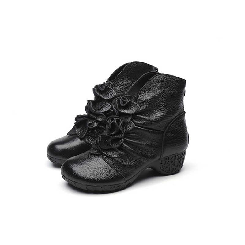 Ylqp 2019 Vintage Martin Laarzen Lederen Laarzen voor Vrouwen Folk Stijl Moeder Laarzen Handgemaakte Winter Warm Schoenen