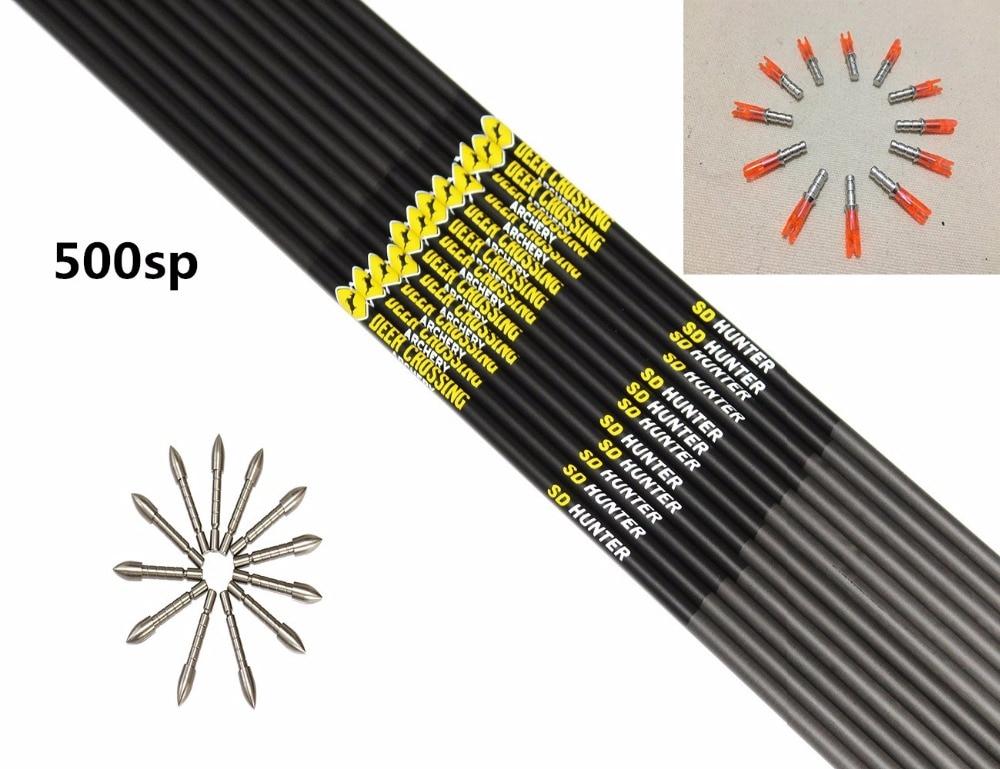 12pcs Archery carbon arrow shaft spine500/600/700/800 ID4.2mm+12pcs pin nock+12pcs target point DIY arrow for Recurve bow