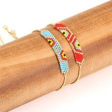 Trendy Evils Eye Asymmetric Pattern Bracelet Miyuki Glass Beads Handmade Women Charm Bracelets Female Girl Friendship Jewelry