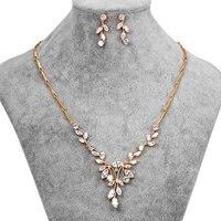 Sparkling Klare Zirkonia Marquise Blatt Design Zirkon CZ Halskette Ohrring-brautschmucksachen Eingestellt für Hochzeit