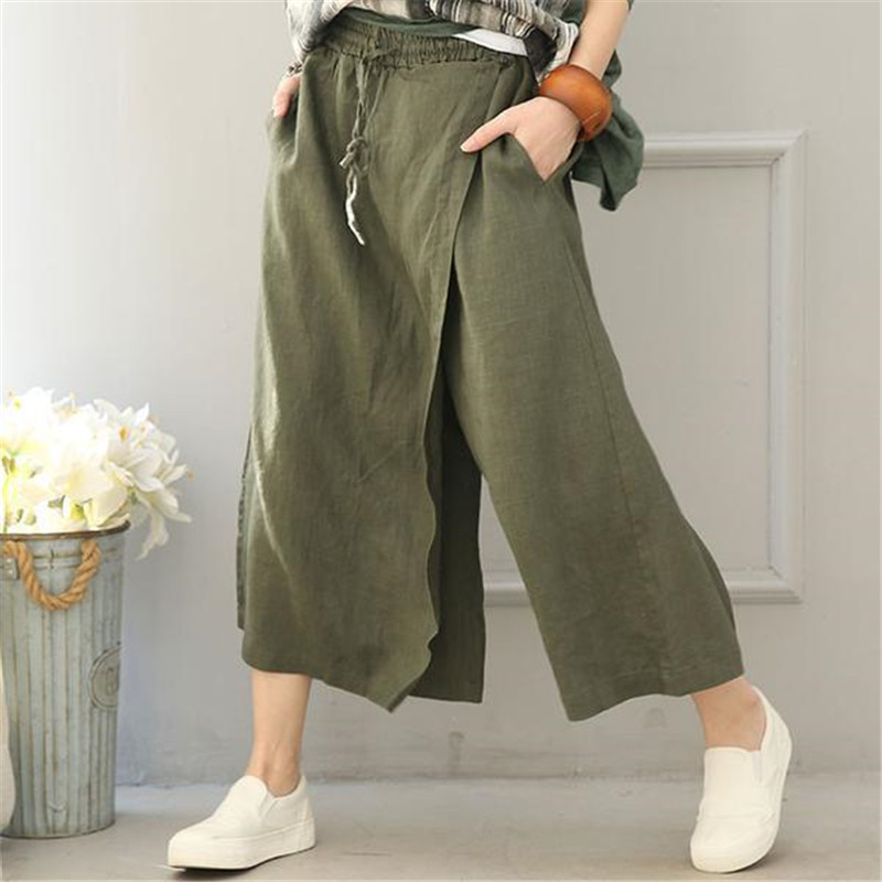 BUYKUD 2018 Summer Women Top Quality   Wide     Leg     Pants   Irregular Calf-Length Green Casual Loose Solid Trousers With Pockets