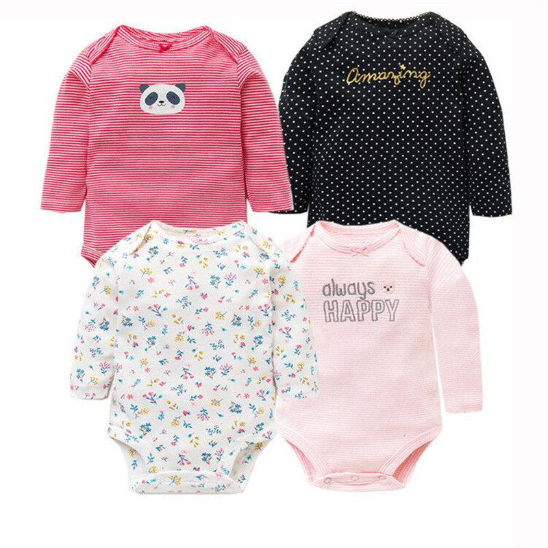 4 PCS/LOT Soft Cotton Baby Bodysuits Long Sleeve Newborn Baby Clothing Set Christmas Baby Girls Boys Clothes Infant Jumpsuit-in Bodysuits from Mother & Kids