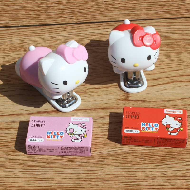 1pcs Pink/red Kitty Children's Stationery Cartoon Mini Cute Portable Stapler Stapler Set