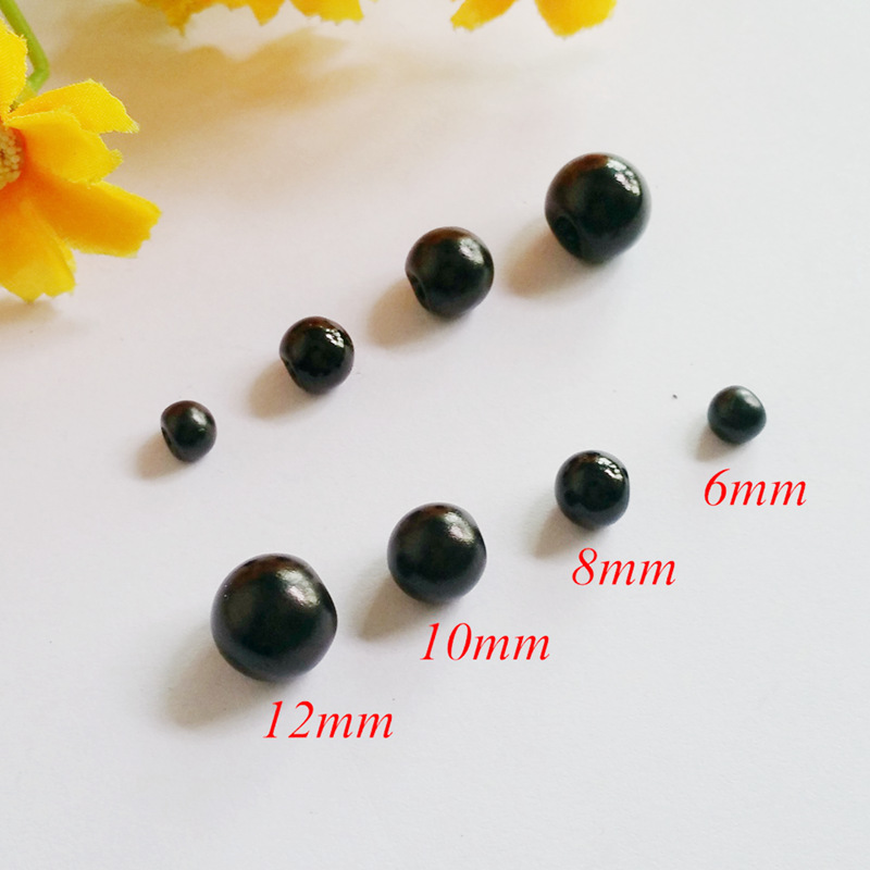 6mm, <font><b>8mm</b></font>, 10mm, 12mm pearl diy <font><b>button</b></font> for craft / Black round bead pearl <font><b>buttons</b></font>, Scrapbooking Supplies <font><b>button</b></font> image