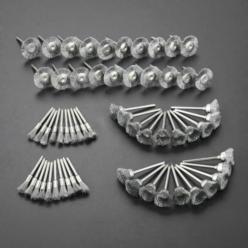 60Pcs 3mm Shank Steel Wire Brushes Polishing Wheel Brush For Tools Mini Brushed Burr Welding Metal Surface Pretreatment Grinding