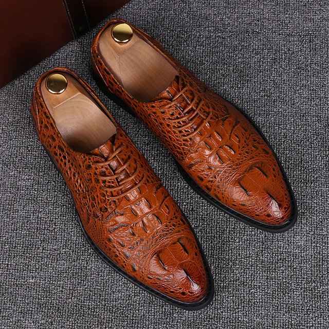 British style men casual business office dresses genuine leather shoes alligator grain emboss oxfords shoe pointed toe sapatos