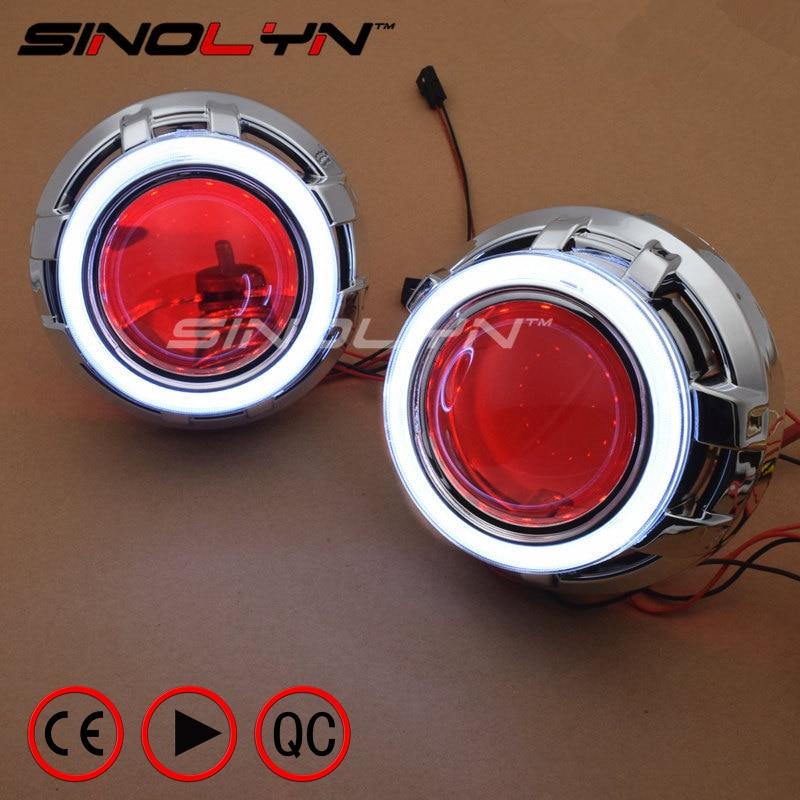 SINOLYN LED DRL Ange Yeux Diable Oeil 3.0 De Voiture Projecteur Lentille Bi Xenon Phare Pour Voiture Auto Tuning DIY Projecteur lentilles H1 H4 H7