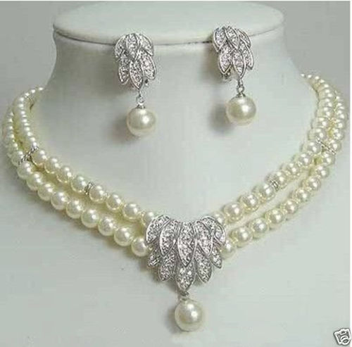 FREE SHIPPING HOT Sell New Style 7 8mm Freshwater White Pearl Necklace Earrings Beautiful Wedding