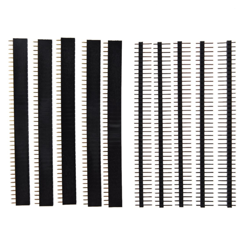 40 Pin 1x40 Single Row Male And Female 2.54 Breakable Pin Header PCB JST Connector Strip For Arduino Black