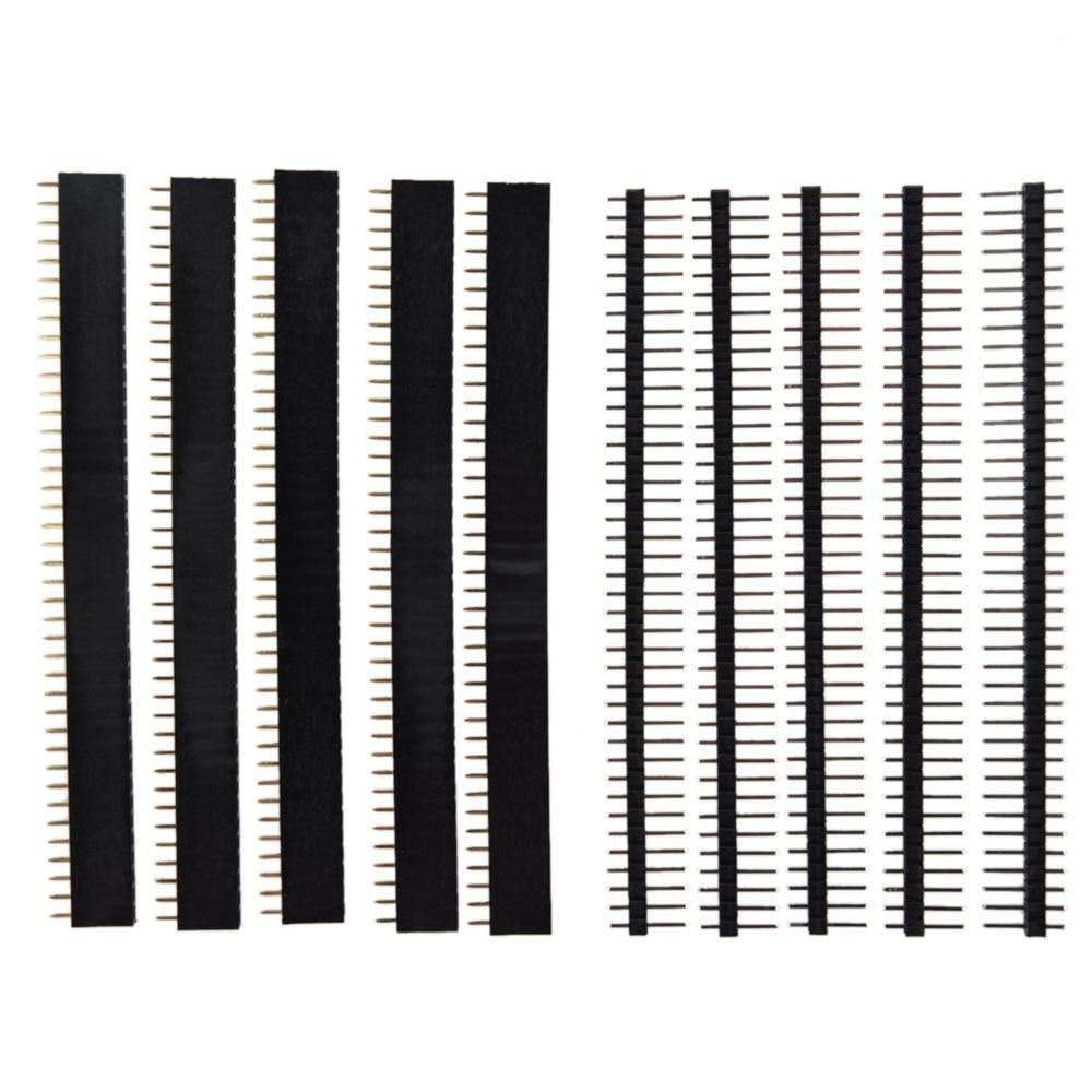 40-контактный Однорядный штекер и гнездо 1x40, 2,54 хрупкий штыревой разъем PCB JST, соединительная лента для Arduino, черный
