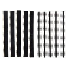 40 Pin 1x40 Single Row macho y hembra 2,54 cabezal de Pin rompible PCB JST conector tira para Arduino negro