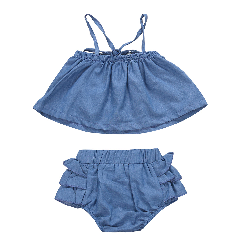 New Fashion Newborn Baby Girl Clothes Sleeveless Halter Square Collar Strap T-Shirt Tops+Ruffles Bloomers Shorts 2pcs Summer Set