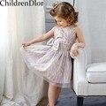 Princesa Vestido Da Menina de Roupas 2017 Crianças de Verão Vestidos de Festa Princesa Do Traje Do Laço para Meninas Oco Vestido Disfraces Infantiles