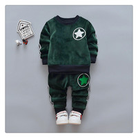 2 Pcs Long Sleeve Winter Pullover Boys Pants Kids Trousers Baby Boy Clothes Infant Clothing Set