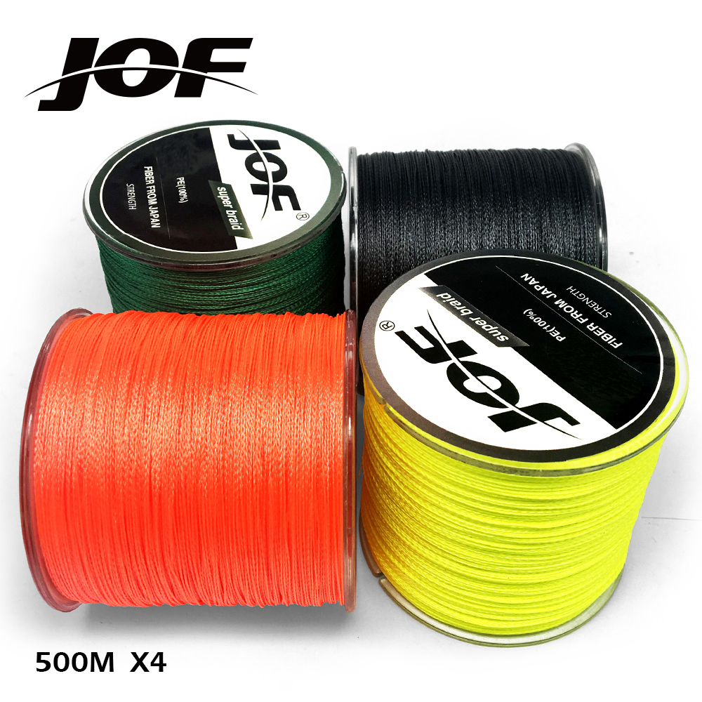 JOF BRAID 500M original Green/Black/Orange/Yellow color 4 braided ...