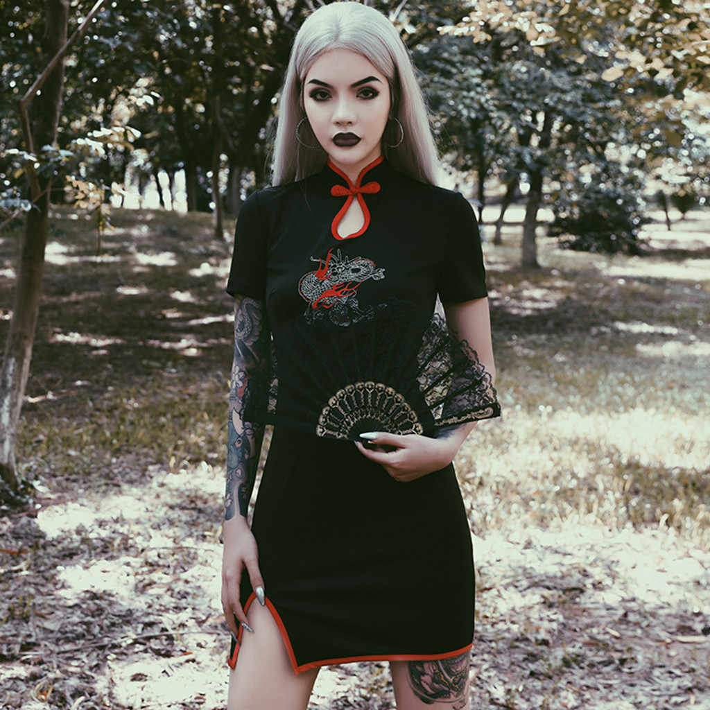 فستان بتصميم أنيق أنيق أنيق على الطراز القوطي مُزين بالتطريز من Cheongsam ملابس قصيرة الأكمام بتصميم كلاسيكي فستان مجزأ من vestiti donna