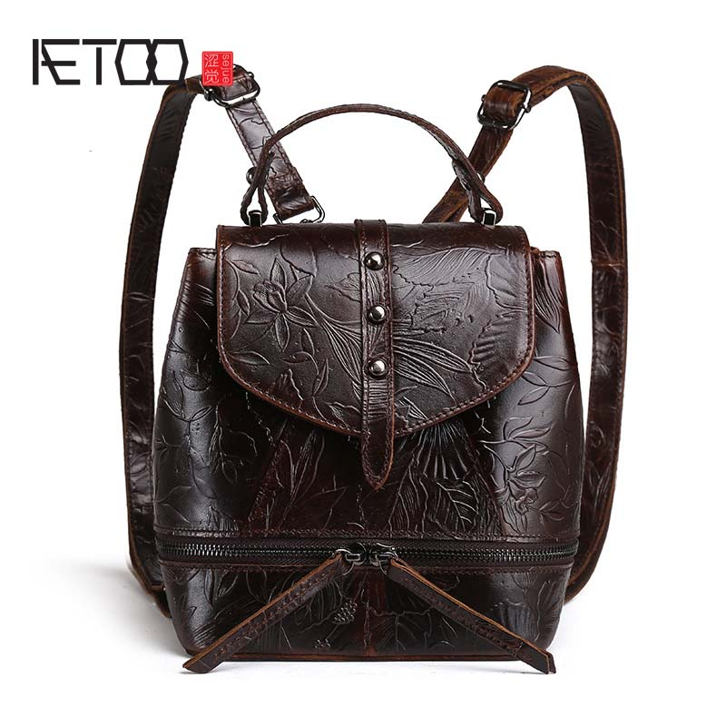 AETOO High Quality Women Genuine Leather Backpacks Female Embossed Flower Backpack School Bag Vintage National Travel Bags