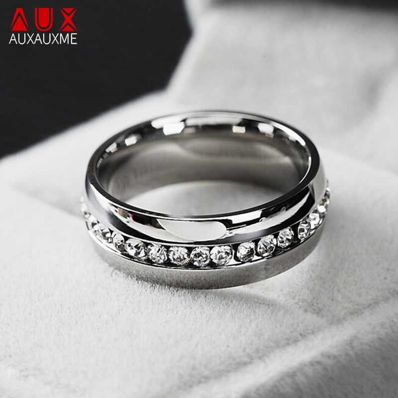 Auxauxme Bling Cz งานแต่งงานแหวนเครื่องประดับสแตนเลสรักคู่แหวนวันวาเลนไทน์ของขวัญ