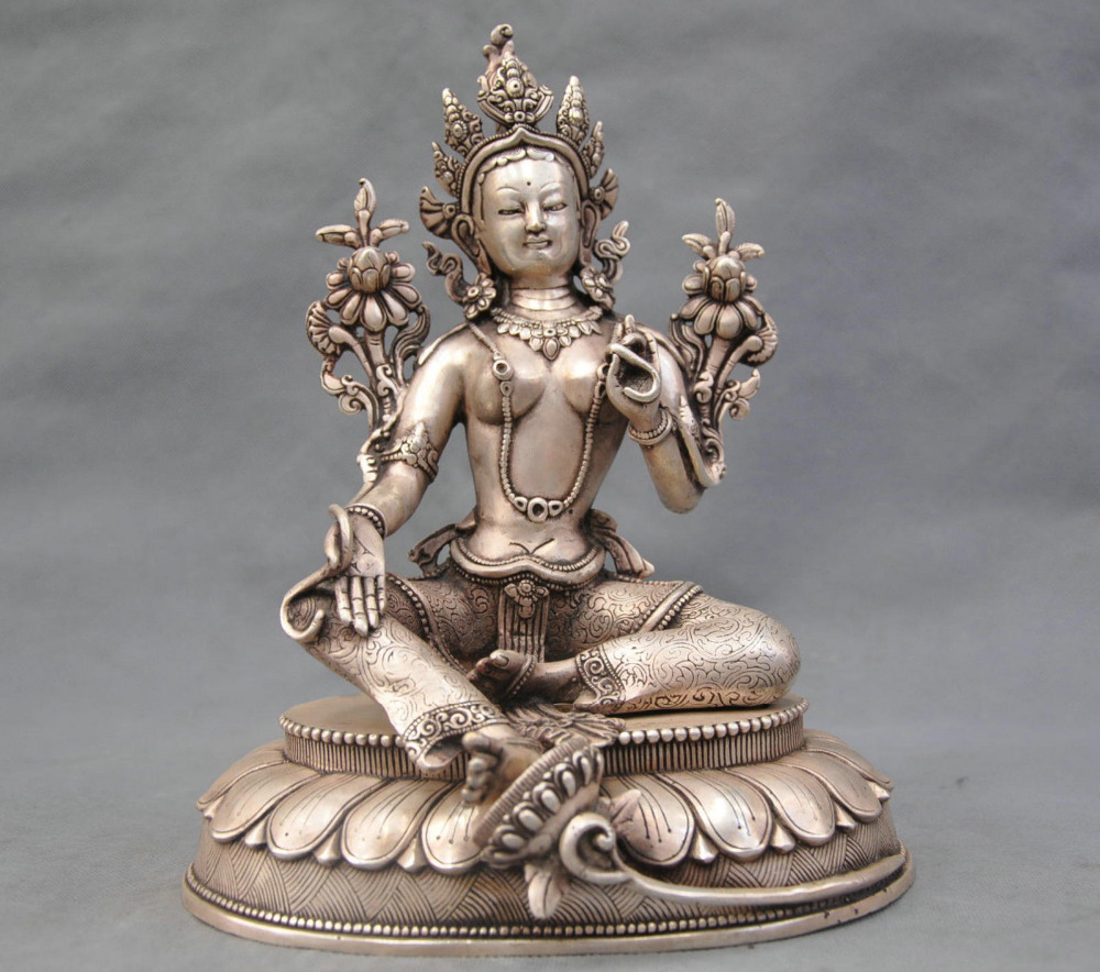 10 China Silver Bronze Buddhism Green Tara Buddha Bronze Statue10 China Silver Bronze Buddhism Green Tara Buddha Bronze Statue