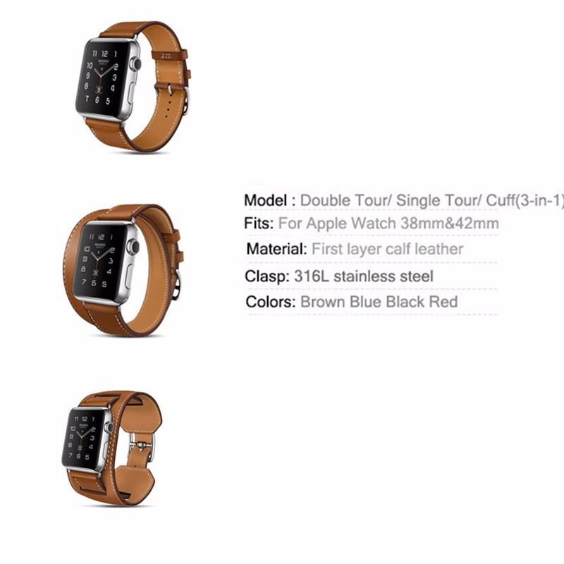 a273e4b20a8 LNOP Genuine Leather strap For Apple watch 4 band 42mm 38mm 44mm ...