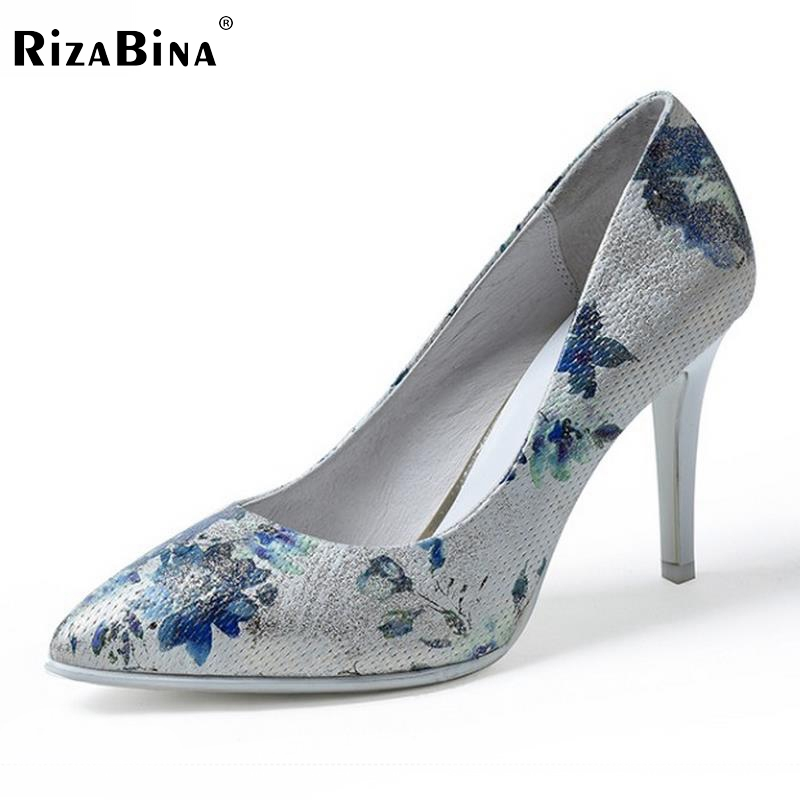 New Arrival Female Geniune Leather High Heels Shoes Women Pointed Toe Floral High Heeled Pumps Sexy Party Footwear Size 34-39 taoffen women high heels shoes women thin heeled pumps round toe shoes women platform weeding party sexy footwear size 34 39