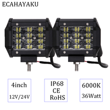 ECAHAYAKU 2pcs 4 Flood Spot Beam LED Work Light Bar For Offroad 4WD Fog Lamp Truck Motorcycle Tractor RZR 12V 24V 4x4