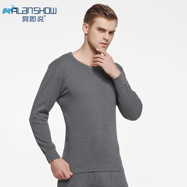 ALANSHOW Cotton Winter Round Neck Warm Long Johns Set for Men Ultra-Soft Solid Color Thin Thermal Underwear 1