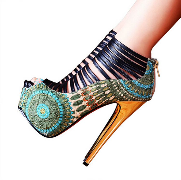 ФОТО 15 sexy high-heeled shoes 16cm open toe sandals spring and summer 14cm ultra thin heels high heels platform shoes women's