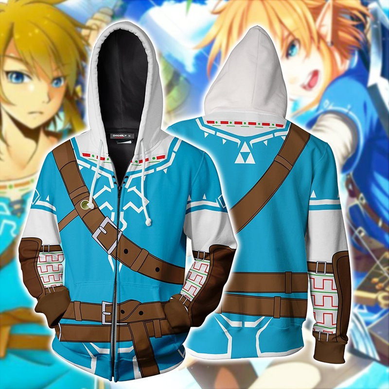 The Legend of Zelda: Breath of the Wild Princess Zelda Hoodies Jacket Cosplay Costume 3D Printing zipper Hoodies Sweatshirts