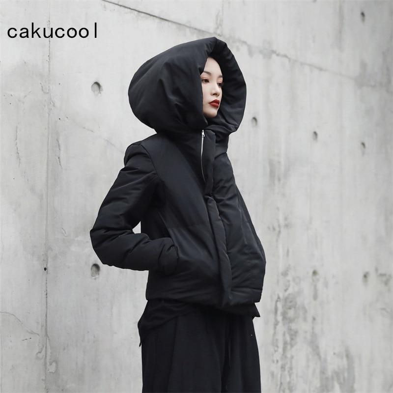 Femme Manteau D'hiver Parkas Parka Fermeture Grand Nouvelle Veste Mince Casaco Japonais Doublure Court Feminino Coton Chapeau Cakucool Noir ZxqSEHgwtt