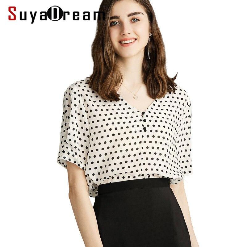 Kobiety kropki bluzki koszula 100% prawdziwy jedwab krepa V neck urząd Lady lato bluzka z krótkim rękawem 2019 wiosna lato koszula w Bluzki i koszule od Odzież damska na  Grupa 1