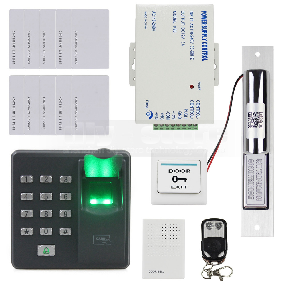 DIYSECUR Biometric Fingerprint RFID 125KHz Password Keypad Door Access Control System Kit + Electric Bolt Lock + Remote Control diysecur electric bolt lock 125khz rfid password keypad access control system security kit door lock remote control ks158