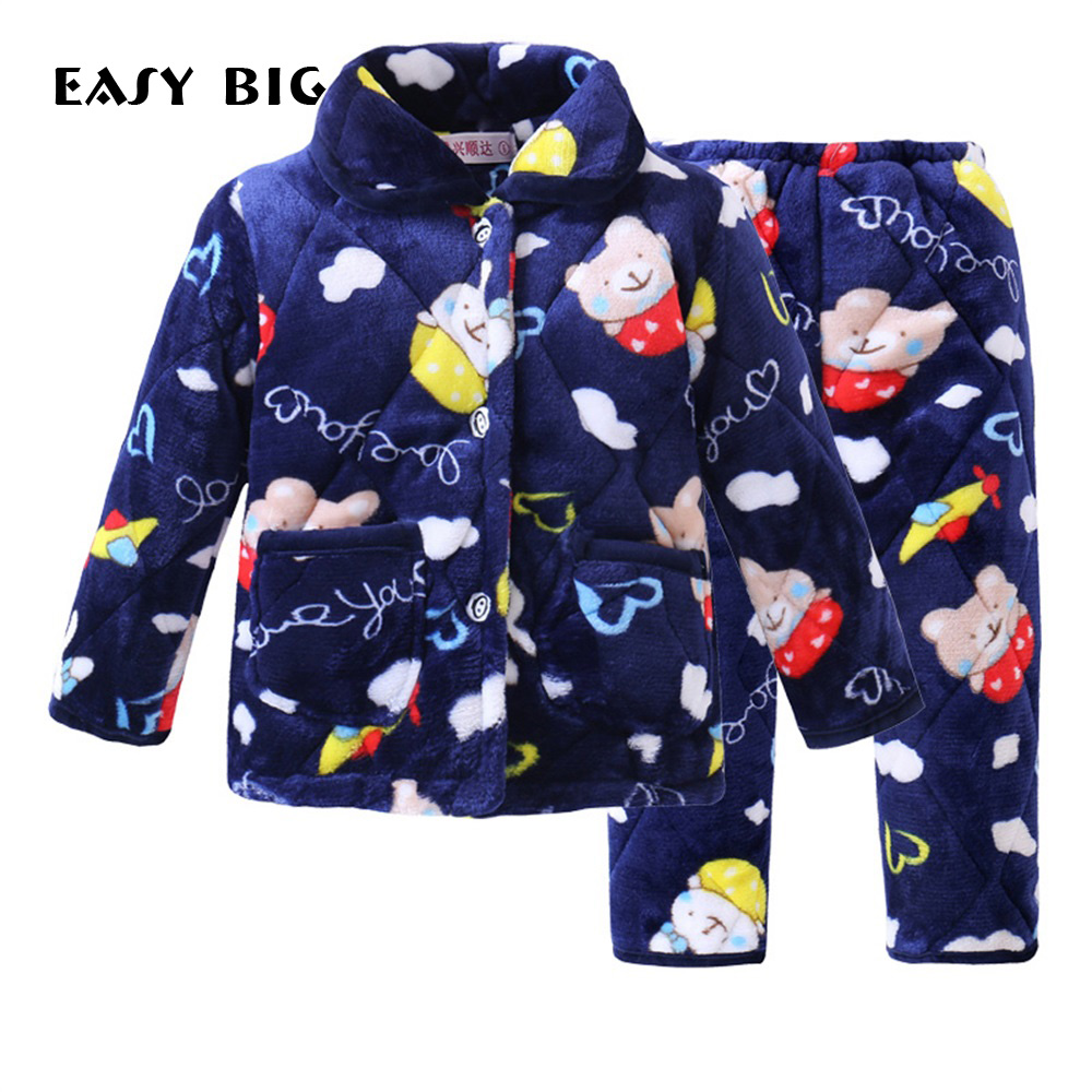 EASY BIG Winter Christmas Warm Flannel Children Pajamas Sets for Kids Thickening Cotton Interlayer Girls Boys Sleepwear CC0137 2015 new arrive super league christmas outfit pajamas for boys kids children suit st 004