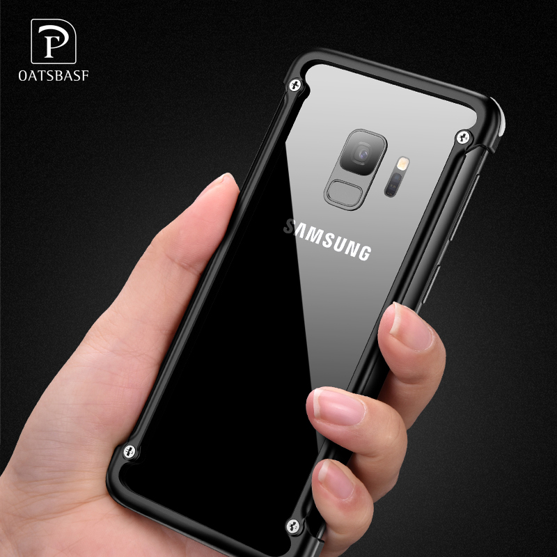 OATSBASF Airbag Metal Case For Samsung Galaxy S9 Personality Airbag Shell for Galaxy S9 Plus Metal Bumper Cover Case