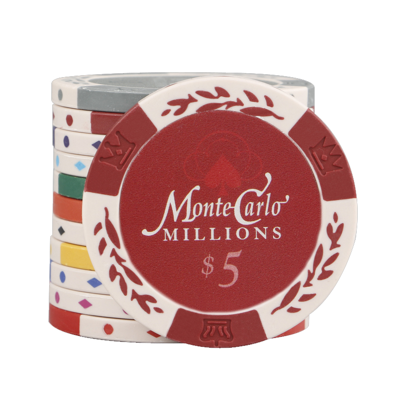 Monte Carlo Clay with Metal Core Poker Chips - Classic Wheat & Crown Style Poker Chips Set 10pcs 40*3.4mm 14g