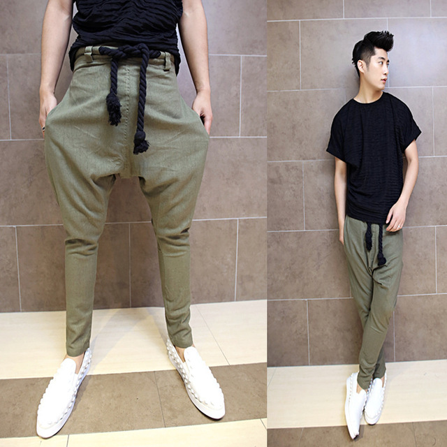 Men Harem Pants brand 2016 Casual Sagging Pants Men Drop Crotch Linen Pant Men Joggers Feet Pants Hanging Crotch