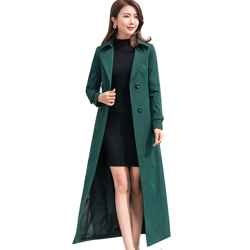 Spring Autumn Women's   Trench   Coat Brand Fashion Lady Elegant Slim X-Long Windbreaker Double Breasted overcoat Coat Plus size 4XL