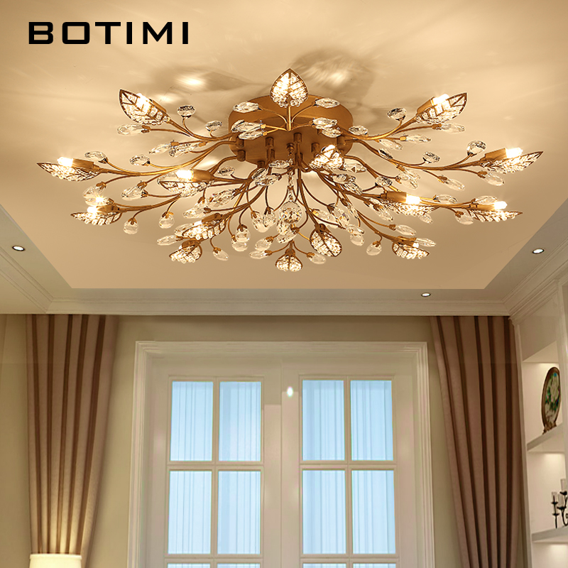 BOTIMI Crystal Ceiling Lights For Living Room Luxury Crystals Ceiling Lamp Black Luminaria Rooms Lighting Fixture Room Lustres  BOTIMI Crystal Ceiling Lights For Living Room Luxury Crystals Ceiling Lamp Black Luminaria Rooms Lighting Fixture Room Lustres