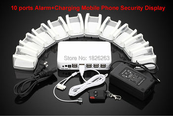10 Ports Mobile Phone Tablet PC Anti Theft Burglar Device Phone Alarm Charging Security Display Stand Mobile Phone Security Box