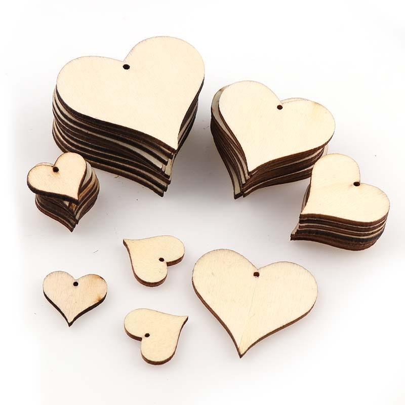 Mixed Size DIY Perforated Wooden Heart Patch Crafts Scrapbooking Supplies Wedding DecorationHand-made Graffiti Buttons