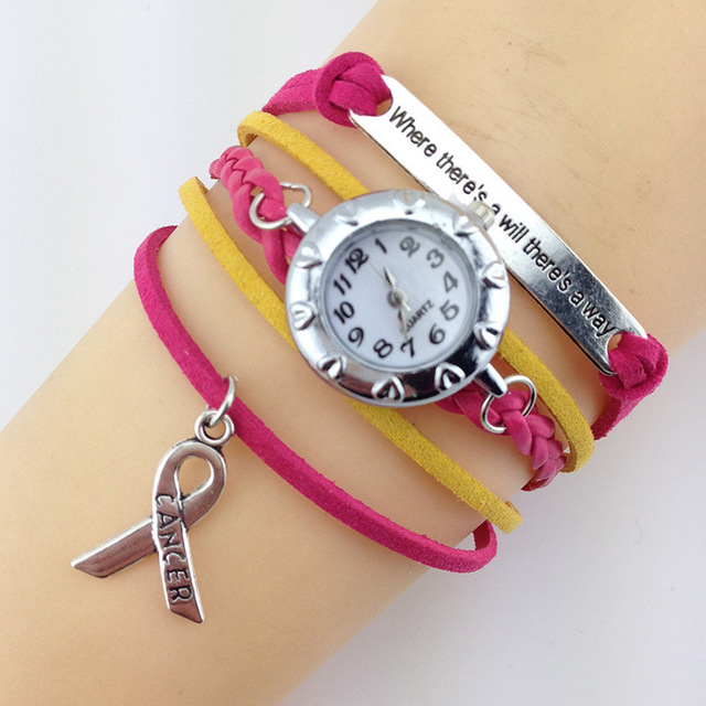 Whole Jewelry T Cancer Awareness Rose Color Multi Woven Ribbon Charm Watch Bracelet
