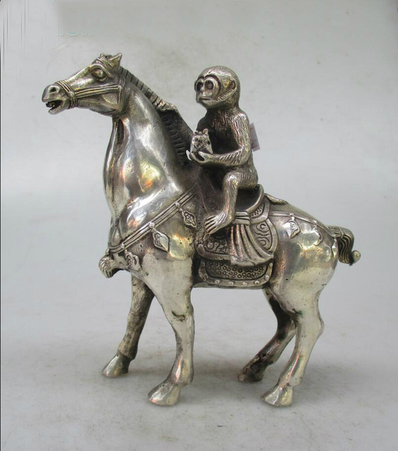 Metal Crafts Christmas Home decorations+Chinese Old Handwork Tibet Silver Carved Monkey Riding Horse Statue/ sculptureMetal Crafts Christmas Home decorations+Chinese Old Handwork Tibet Silver Carved Monkey Riding Horse Statue/ sculpture