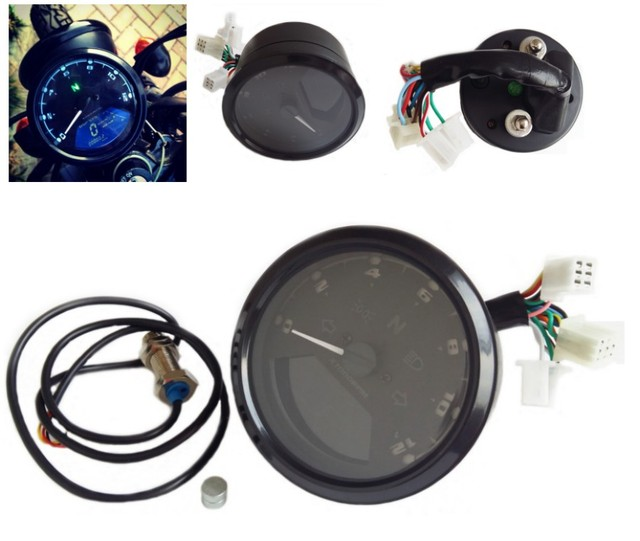 12000RPM KMH MPH LCD Digital Odometer Motorcycle Speedometer Tachometer Universal