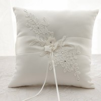 White Lace Flower PearlRhinestone Ring Pillow Ribbon Bowknot Bridal Wedding Ring Pillow for Wedding DIY Decoration Supplies