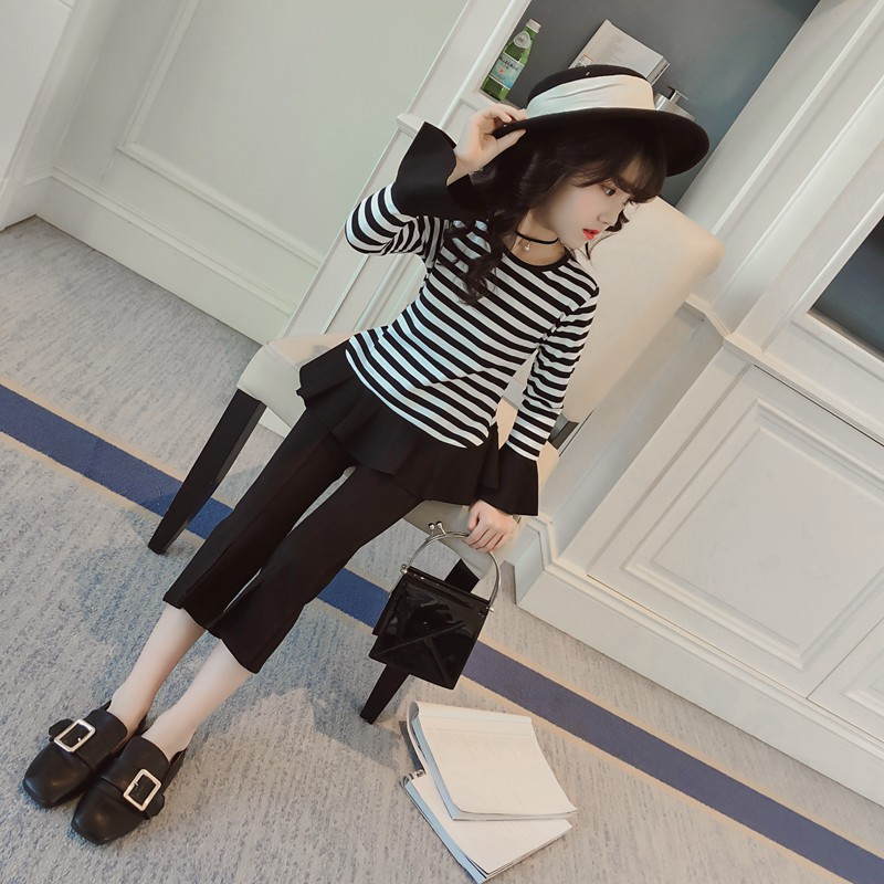Teenage Girls Fashion Girl Clothing Set Striped Flare Sleeve Shirt + Pant 2pcs Clothes For 4 5 6 7 8 9 10 11 12 13 Years 4 5 6 7 8 9 10 11 12 13 years girls school uniform autumn clothes set kids teens long sleeve shirt pant 2pcs children clothing