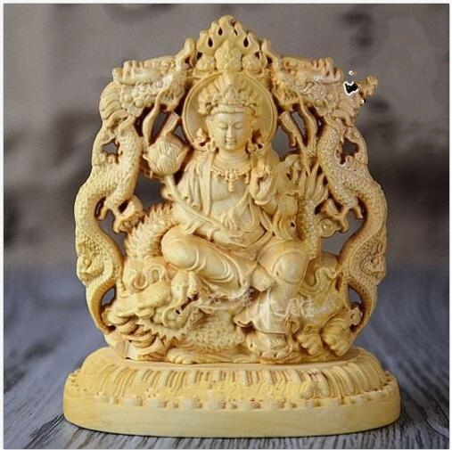 Old Collectibles Decorated Handwork Boxwood Carving Dragon Kuan-yin StatueOld Collectibles Decorated Handwork Boxwood Carving Dragon Kuan-yin Statue
