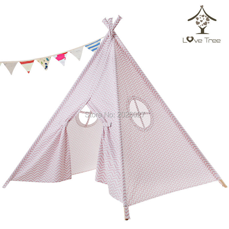 LoveTree Four Poles Children Teepees Kids Play Tent Cotton Canvas Teepee Pink Stripe Two Windows Playhouse for Baby Room Tipi kids teepee tipi tent for kids white children play house toy kids baby room indoor big outdoor teepees for children