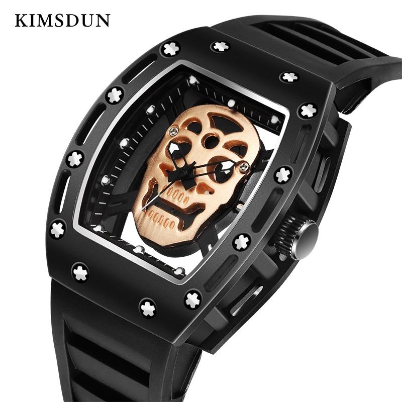 Fashion Tonneau Skeleton Watch Men Hollow Waterproof Skull Watch Male Quartz Silicone Wrist Watch Men Clock Erkek Kol Saati