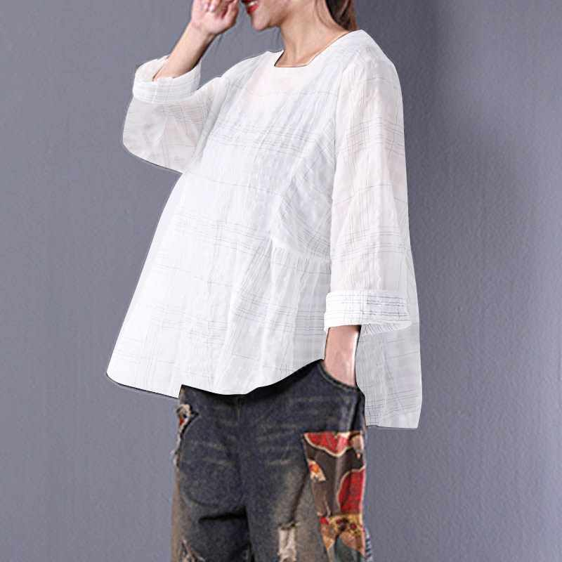 8215124ae08c 2018 ZANZEA Women Plaid Check Spring O Neck Long Sleeve Loose Retro Shirt  Cotton Linen Baggy