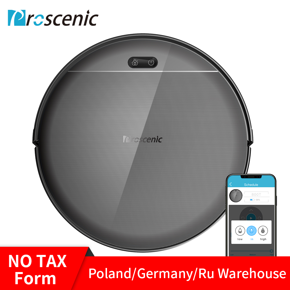 Proscenic 800T Robotic Vacuum Cleaner Alexa App Control 1800Pa Strong Suction Big Water Tank Sweep and